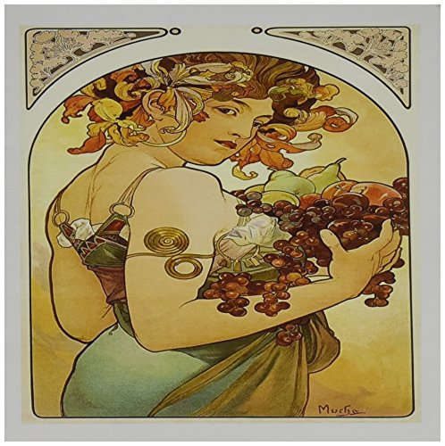 3dRose Painting By Alphonse Mucha Fruit - Greeting Cards, 6 x 6 inches, set of 12 (gc_61840_2)