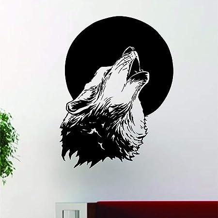 tzxdbh Wallpaper Lobo Howling Moon Diseño Vinilo Tatuajes De Pared ...