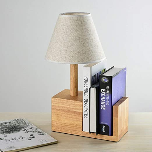 ... Lightings Table Lamp Modern Contemporary Solid Wood Cloth Craft Shade Warm Bedside Study Can be Placed Bookshelf Led Desktop: Sports & Outdoors
