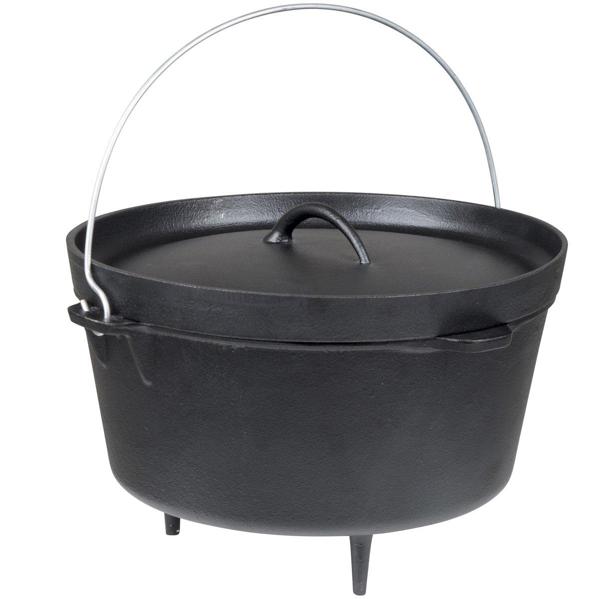 Dutch Oven Feuertopf aus Gusseisen vielseitig anwendbar Durchmesser ca. 31 cm • Schmortopf Römertopf Grill Topf Bräter Camping