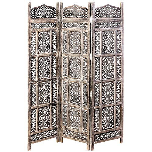- WHW Whole House Worlds Grand Tour Room Divider, Moroccan Style, 3 Panels, Hand Carved Sustainable Mango Wood, 6 Feet Tall (59 L x 3/4 W x 72 H Inches)