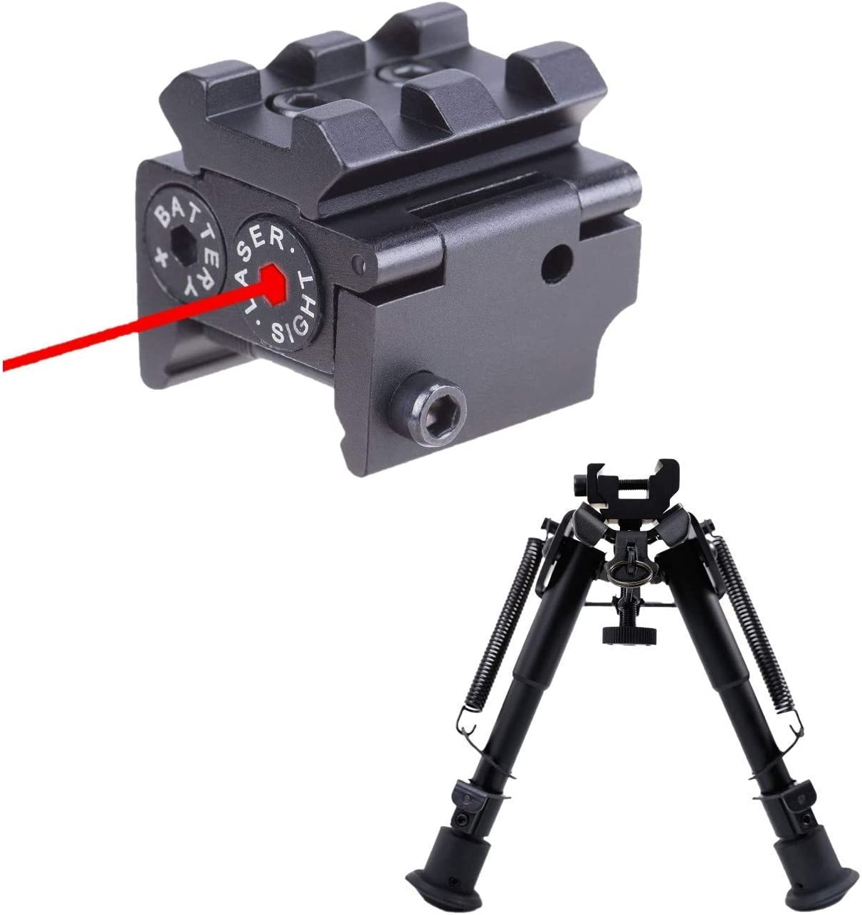Pinty Red Laser Red Dot Sight Waterproof Military Grade Low Profile Compact & Rifle Tactical Bipod Compatible with Picatinny Rail System Adjustable 6-9 Inch Height