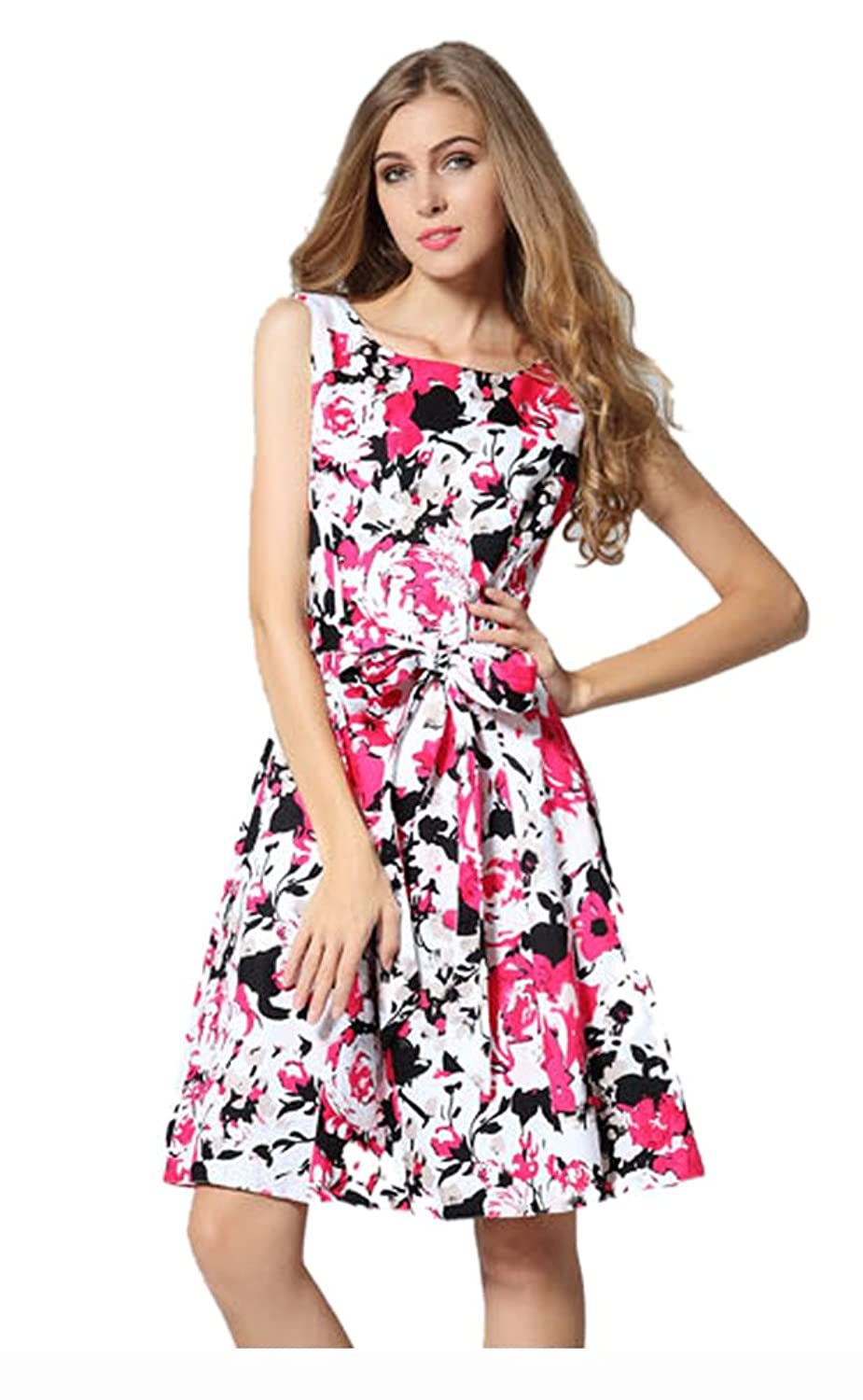 Purpura Erizo Womens Allover Flora Printing Empire Trim Party Pleated Dress