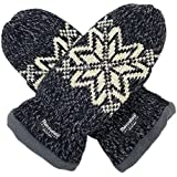 Bruceriver Women Snowflake Knit Mittens with Warm Thinsulate Fleece Lining Size S (Black)