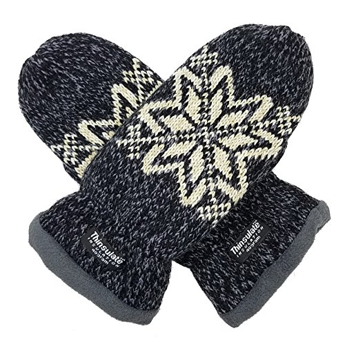 wflake Knit Mittens with Warm Thinsulate Fleece Lining Size L (Black) ()