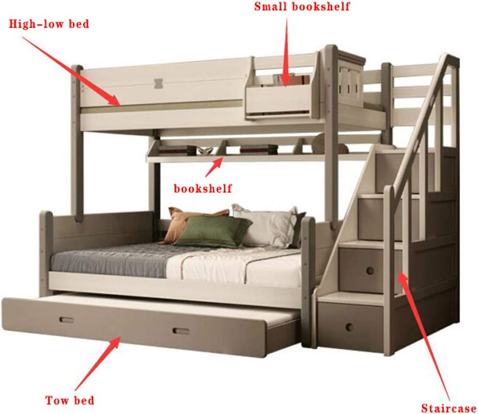 Amazon Com Solid Wood Bunk Beds Child Mother Bed With Stairs And Storage For Kids And Teenagers Tow Bed 1 5 X 1 9m Home Kitchen