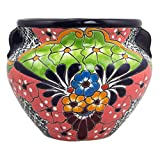 NOVICA Floral Ceramic Flower Pot, Multicolor, 'Guanajuato Garden'