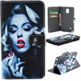 Note 4 Case,Note 4 Wallet Case,XYX [Kickstand] Fashion [Marilyn Monroe] Premium PU Leather Wallet Case with Stand Flip Cover for Samsung Galaxy Note 4