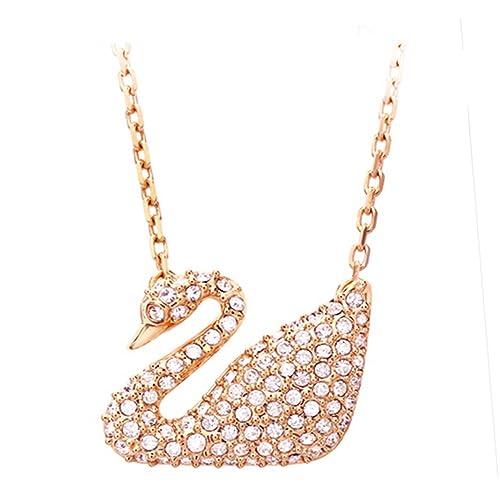 d41bb4e87e708 Swarovski Swan Necklace, White, Rose Gold Plating