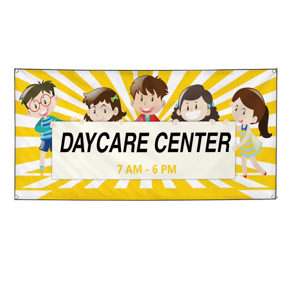 Custom Vinyl Banner Sign Multiple Sizes Daycare Center Times Education Outdoor Personalized Marketing Advertising Yellow 6 Grommets 36inx90in Set of 2
