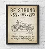 Be Strong and Courageous Joshua 1:9 Bible Verse Patent ART PRINT, UNFRAMED, Vintage Harley Davidson Motorcycle Patent, Christian Wall art decor poster sign, 8x10