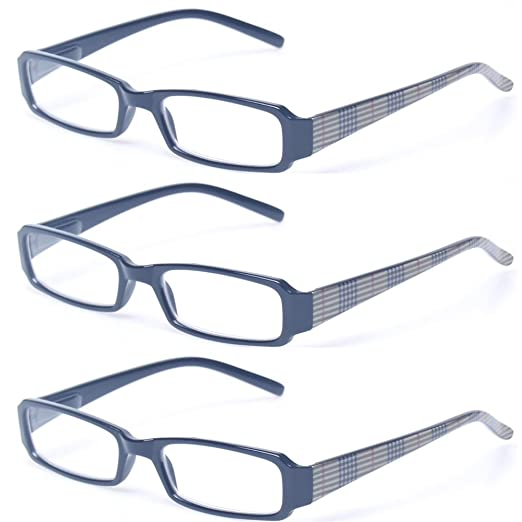 3f0de92817f1 Reading Glasses 3 Pair Spring Hinge Readers Fashion Unisex Rectangular  Glasses (3 Pack Black