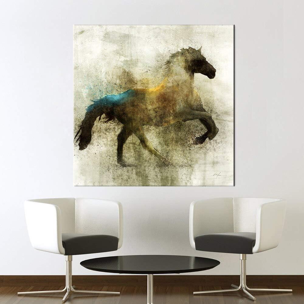 hetingyue Lienzo nórdico Pintura al óleo Animal Pared Arte Retro Caballo Carteles e Impresiones Sala de Estar hogar Pared Pintura sin Marco Pintura 30x30 cm