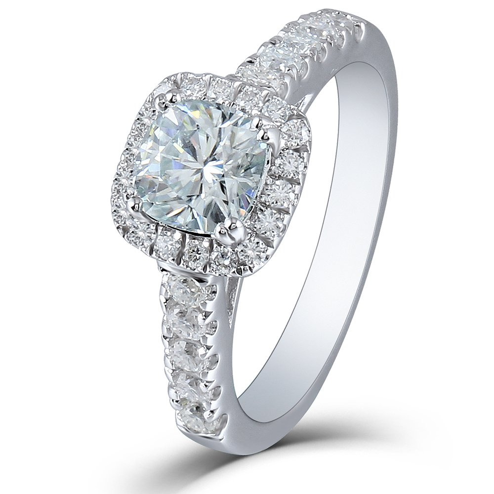 DOVEGGS 1.65CTW 2.6mm Band Width Center 6mm Cushion Cut Moissanite Engagement Ring Solitare with Accents Platinum Plated Silver (4.5)