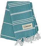 Bersuse 100% Cotton - Anatolia Hand Turkish Towel Pestemal - Baby Care Kitchen Tea Dish Washcloth - Travel Gym Head Hair Face Peshtemal - Classic Striped - 22X35 Inches, Aqua