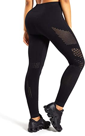 HURMES Womens High Waist Seamless Leggings Slimming Tummy Control Yoga Pants Stretchy Compression Workout Tights