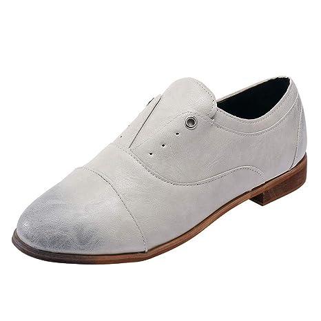 LILICAT❋ Conjunto de Cabeza Redonda, Zapatos de tacón bajo de Piel para Mujer,