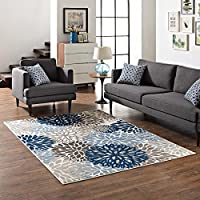 Calithea Vintage Classic Abstract Floral 5x8 Area Rug in Blue, Brown and Beige