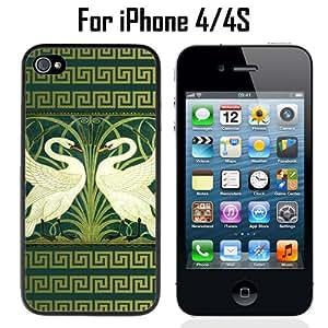 The Swans Green Custom Case/ Cover/Skin *NEW* Case for Apple iPhone 4/4S - Black - Rubber Case (Ships from CA) Custom Protective Case , Design Case-ATT Verizon T-mobile Sprint ,Friendly Packaging - Slim Case