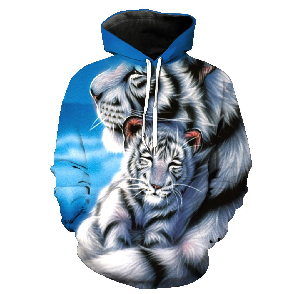 3D Thin The Tiger Mother and Child Printed Unisex Hoodie Hooded Sweatshirt Hoody 2XL