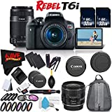 6Ave Canon EOS Rebel T6i DSLR Camera with 18-55mm Lens, 55-250mm Lens and 24mm - 3 Lens Combo