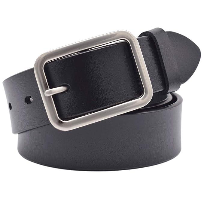 Amazon.com: Vonsely Cinturón de cuero suave y amplio ...