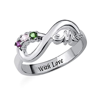 f5ec3899f Amazon.com: Infinity Ring with Birthstones Mom's Ring with Inner Engraving  Personalized Infinity Name Ring: Jewelry