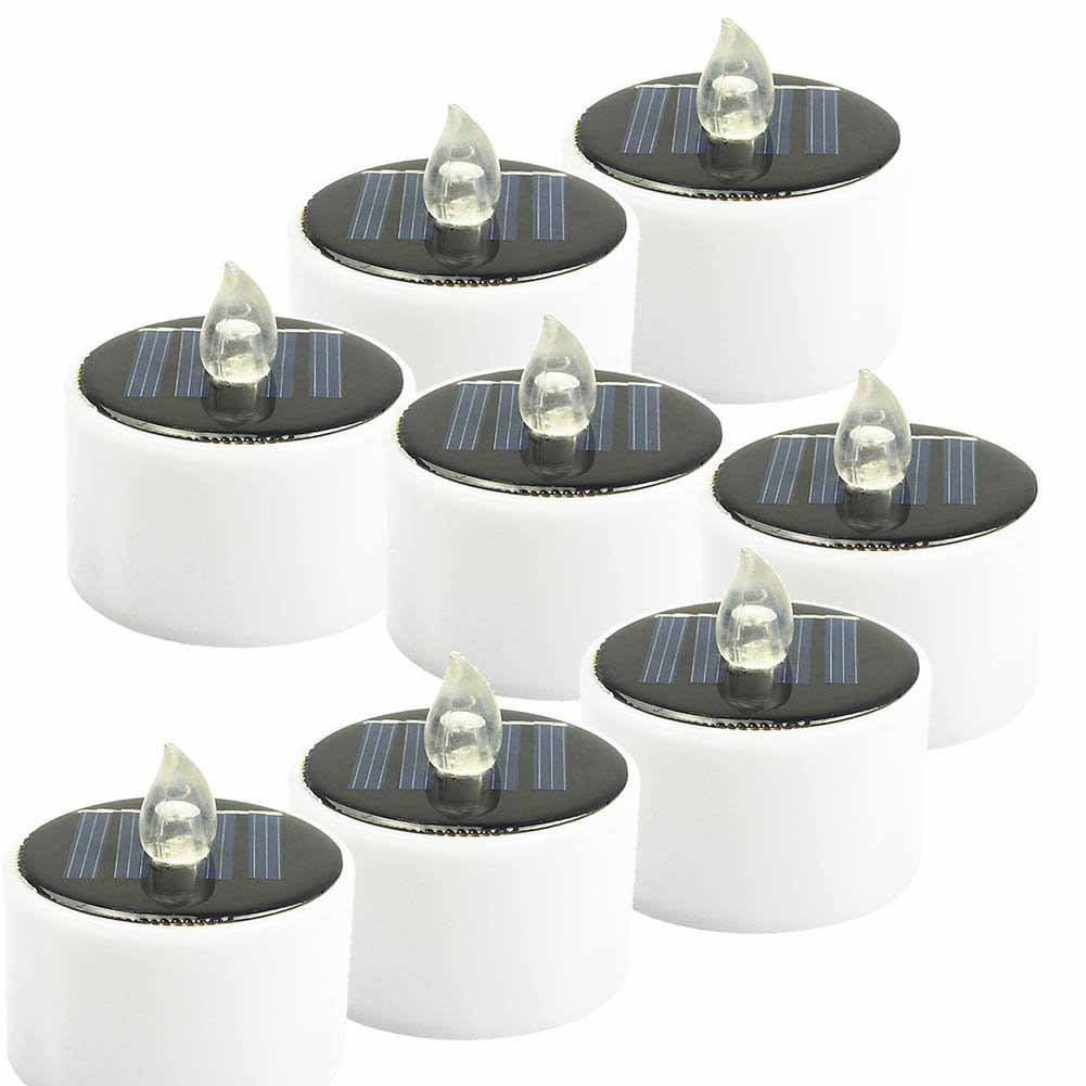 LED Candles Solar Powered Room Dinner Decoration Party Lighting Yard Window Ourdoor Waterproof Flameless Yellow Flicker ABS Decor Tealight Candle Lamp 8 PACK