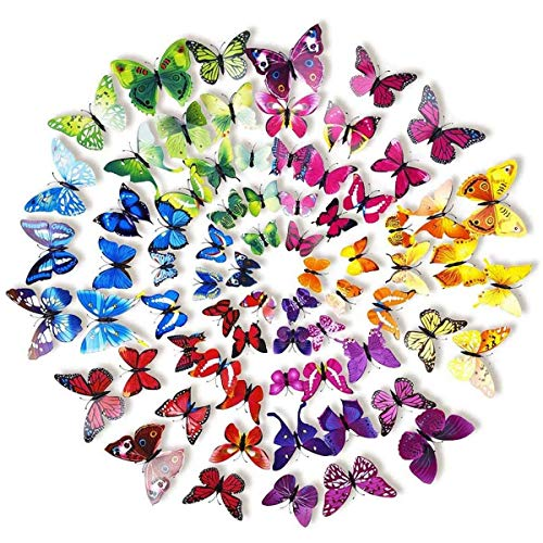 LANIAKEA 3D Butterfly Wall Decals Stickers, DIY Decor Nursery Decoration  For Wallpaper, 6Colors 72pcs
