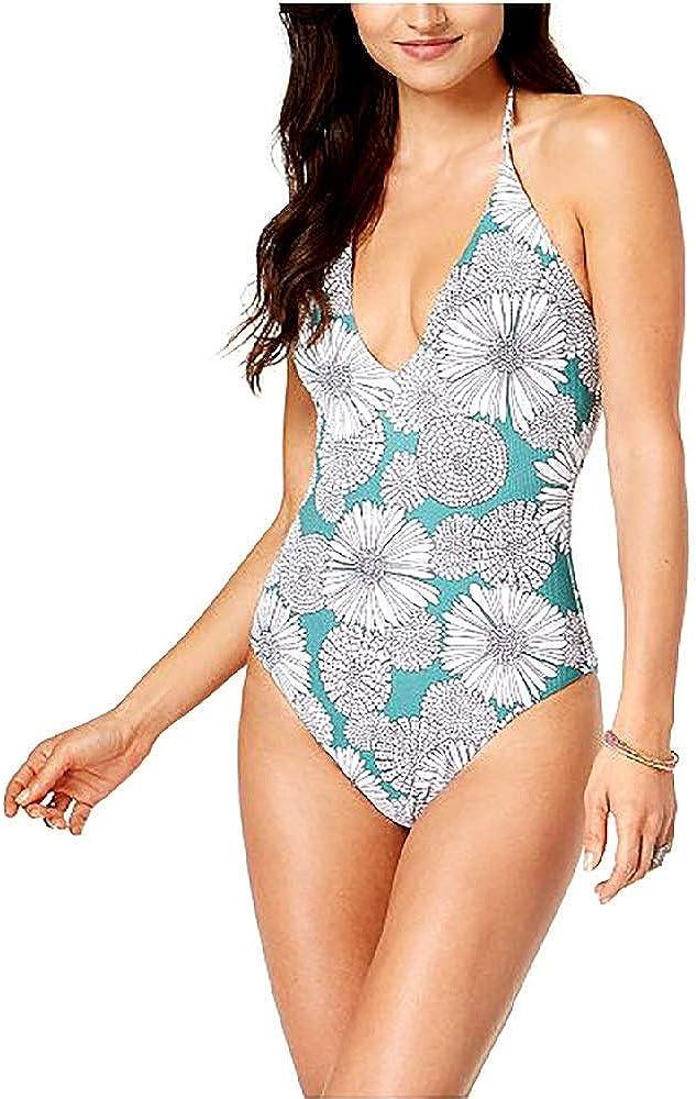 Raisins Malibloom Textured Floral-Print Plunge Halter Cheeky One-Piece Swimsuit Olive