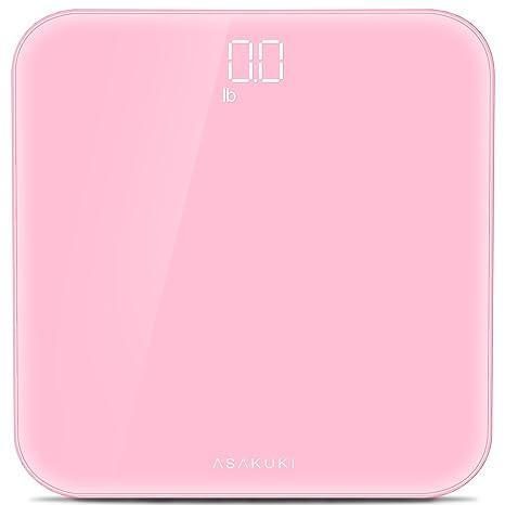 2017 asakuki Digital báscula de baño peso corporal Escala, ultrafino con antideslizante almohadillas, sin