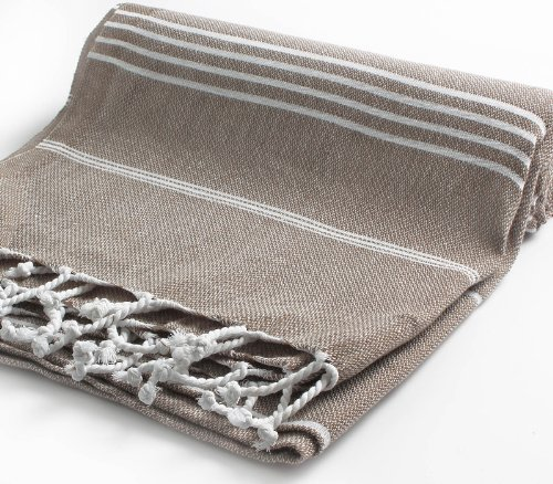 Cacala 100% Cotton Pestemal Turkish Bath Towel, 37 x 70, Light Brown
