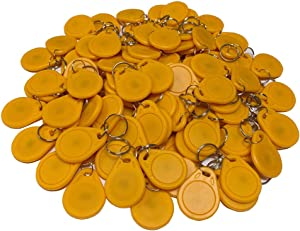 HFeng 13.56MHz RFID Access Control Keyfobs Proximity MF Classic 1k Keychains Smart IC Keycard for Door Home System NFC Token tag 100pcs (Yellow)