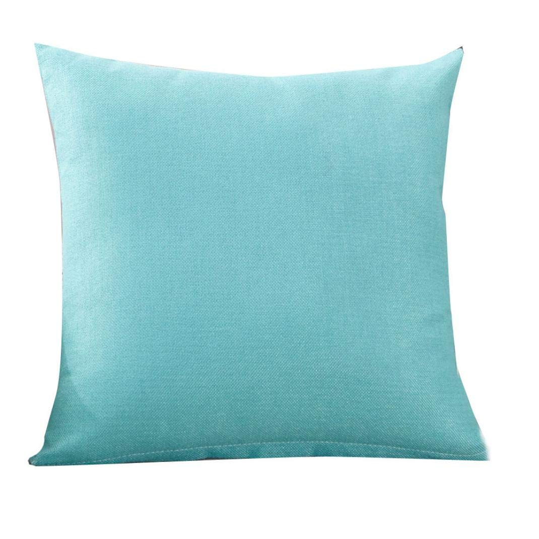 Throw Pillow Covers, E-Scenery Clearance Sale! Cotton Linen Simple Square Decorative Throw Pillow Cases Cushion Cover for Sofa Bedroom Car Home Decor, 16 x 16 Inch (Blue)