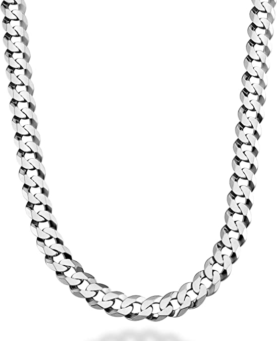 Solid Italy 925 Sterling Silver Cuban Curb 13mm Link Mens Italian Chain Necklace