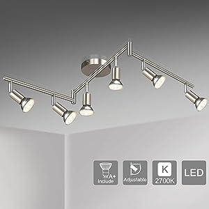 Unicozin LED 6 Light Track Lighting Kit, Matte Nickel 6 Way Ceiling Spot Lighting, Flexibly Rotatable Light Head, Modern Track Light Included 6 x LED GU10 Bulb (4W, Warm White 2700K, 400LM)