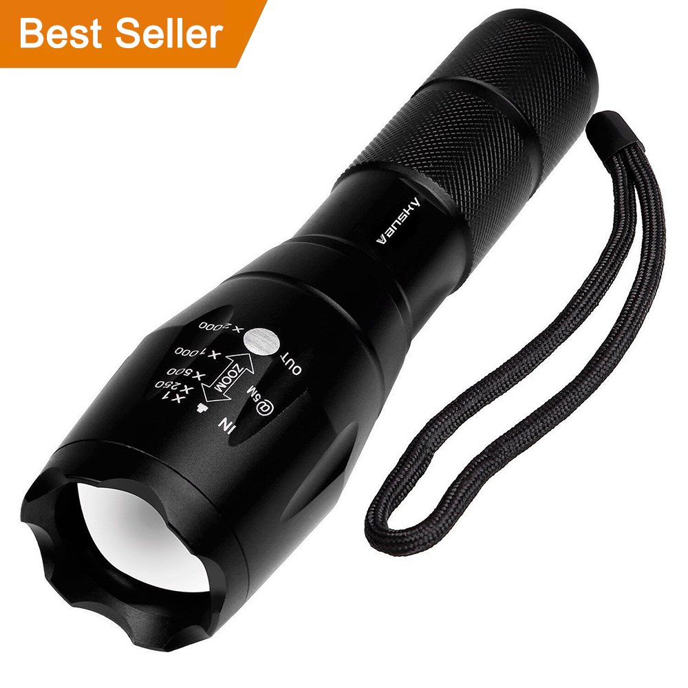 LED Torch, Vansky Pocket Torch Cree XMLT6 Adjustable Focus Tactical Flashlight Zoomable Led Light Water Resistant Camping Torch Torch01 EU