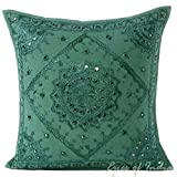 Eyes of India - 16'' Emerald Teal Mirror Embroidered Pillow Colorful Decorative Cushion Cover Throw Sofa Couch Bohemian Boho Seating IndianCover Only