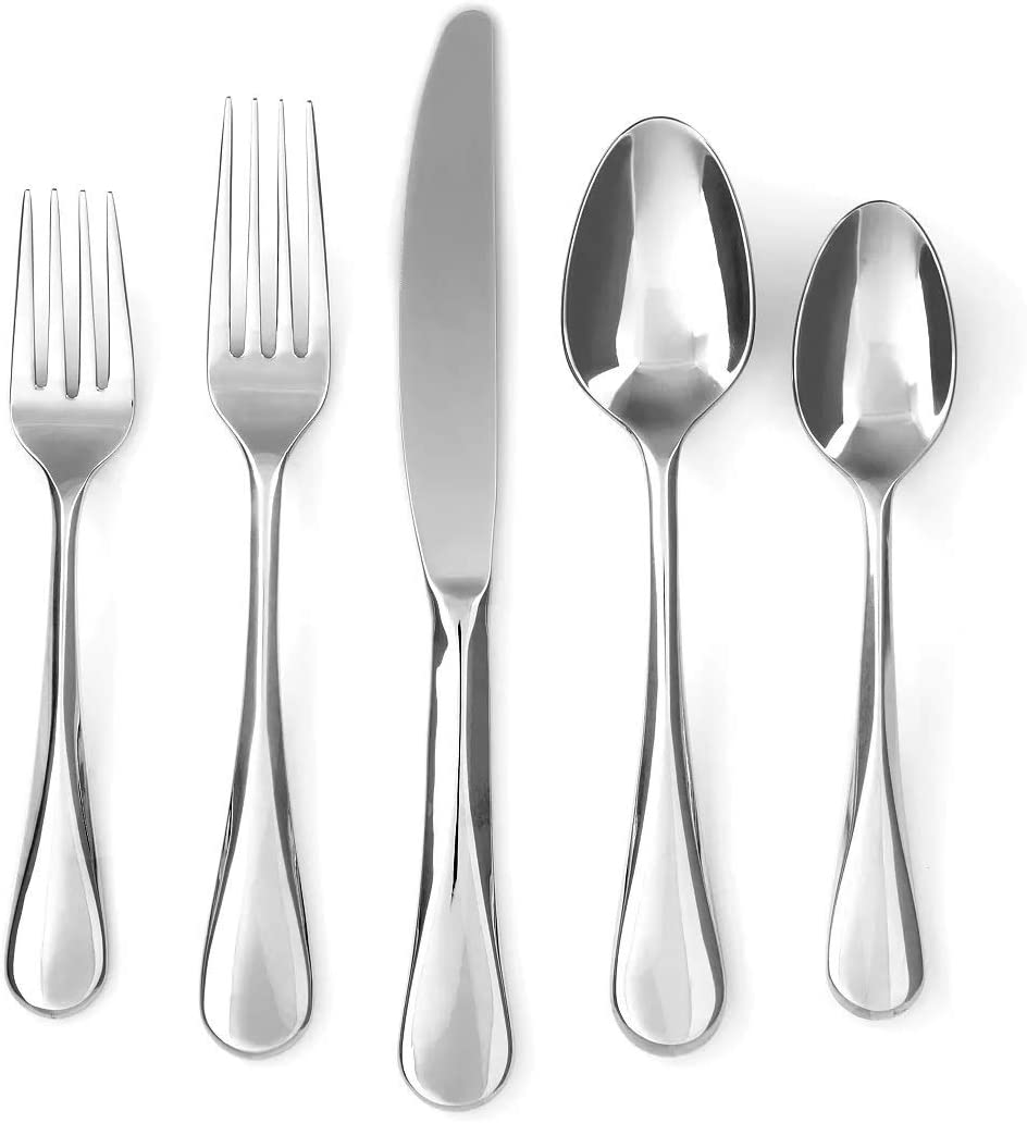Cambridge Silversmiths Eloquence 20-Piece Flatware Silverware Set, Service for 4, 18/10 Stainless Steel, Includes Forks/Spoons/Knives