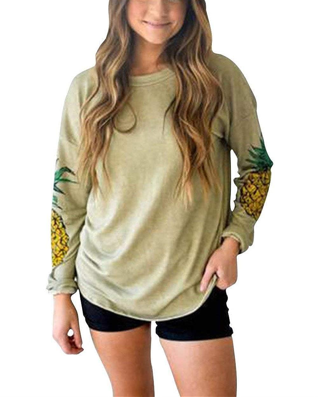 Pingrog T-Shirt Donna Collo O Camicetta Magliette Manica-Lunga Elegante Ampia Camicia Oversize Felpa con Stampa Ananas Top Tops Autunno