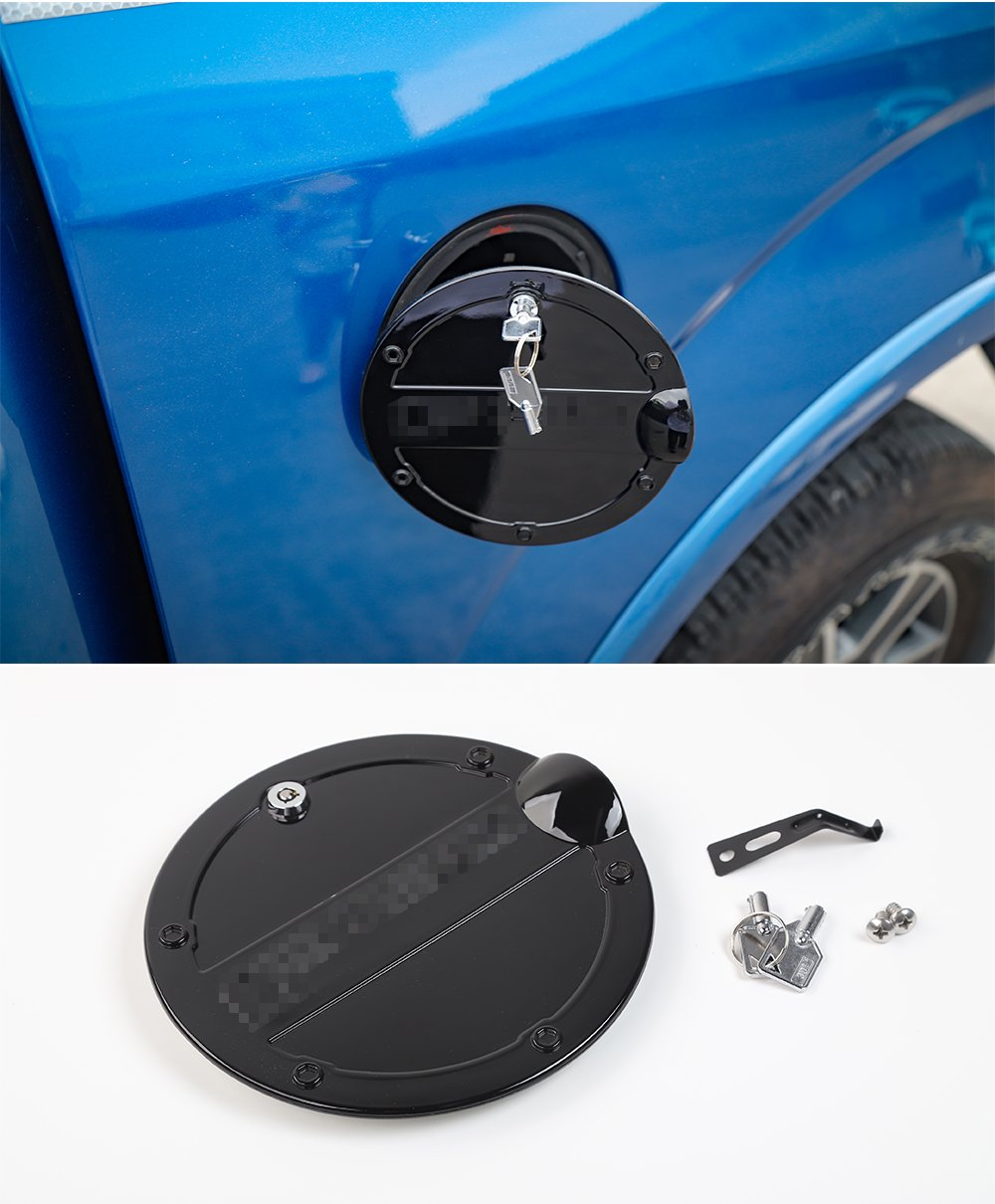 Iron Safety Locking Fuel Tank Cover Oil Lip Sticker Gas Tank Cap with Key fit for Ford F150 2015 2016 2017 Black Nicebee ABS