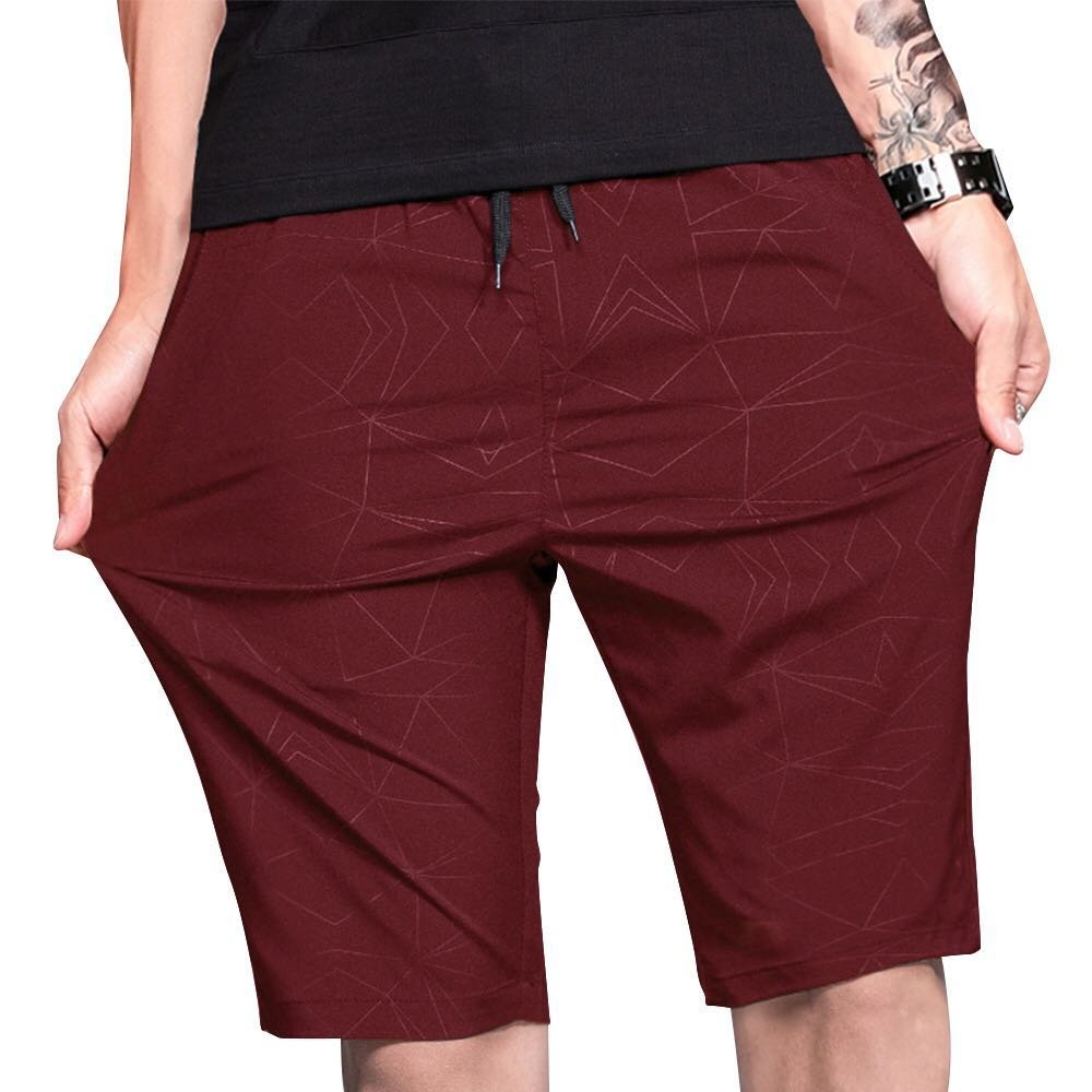 LTIFONE Mens Shorts Gym Training Bodybuilding Exercise Shorts Lightweight Quick Dry Spandex Mens Active Workout Shorts Athletic Summer Shorts(Burgundy,S)