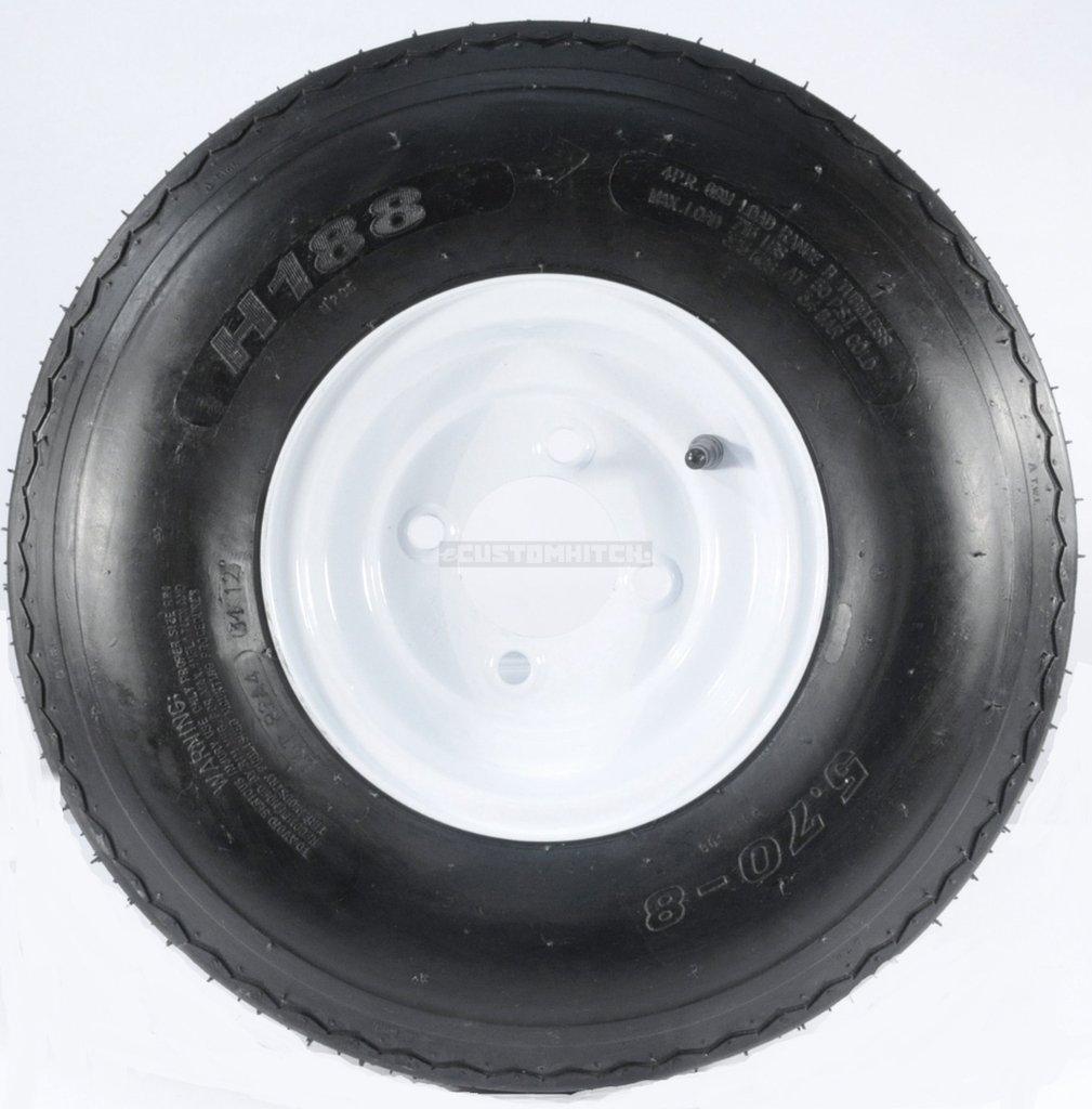 eCustomRim Two Trailer Tires & Rims 5.70-8 570-8 5.70 X 8 8 B 4 Lug Hole Bolt Wheel White