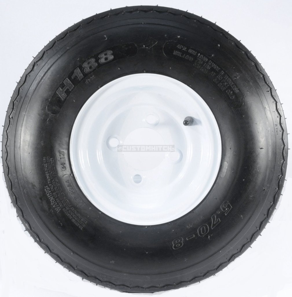 eCustomRim Two Trailer Tires & Rims 5.70-8 570-8 5.70 X 8 8'' B 4 Lug Hole Bolt Wheel White