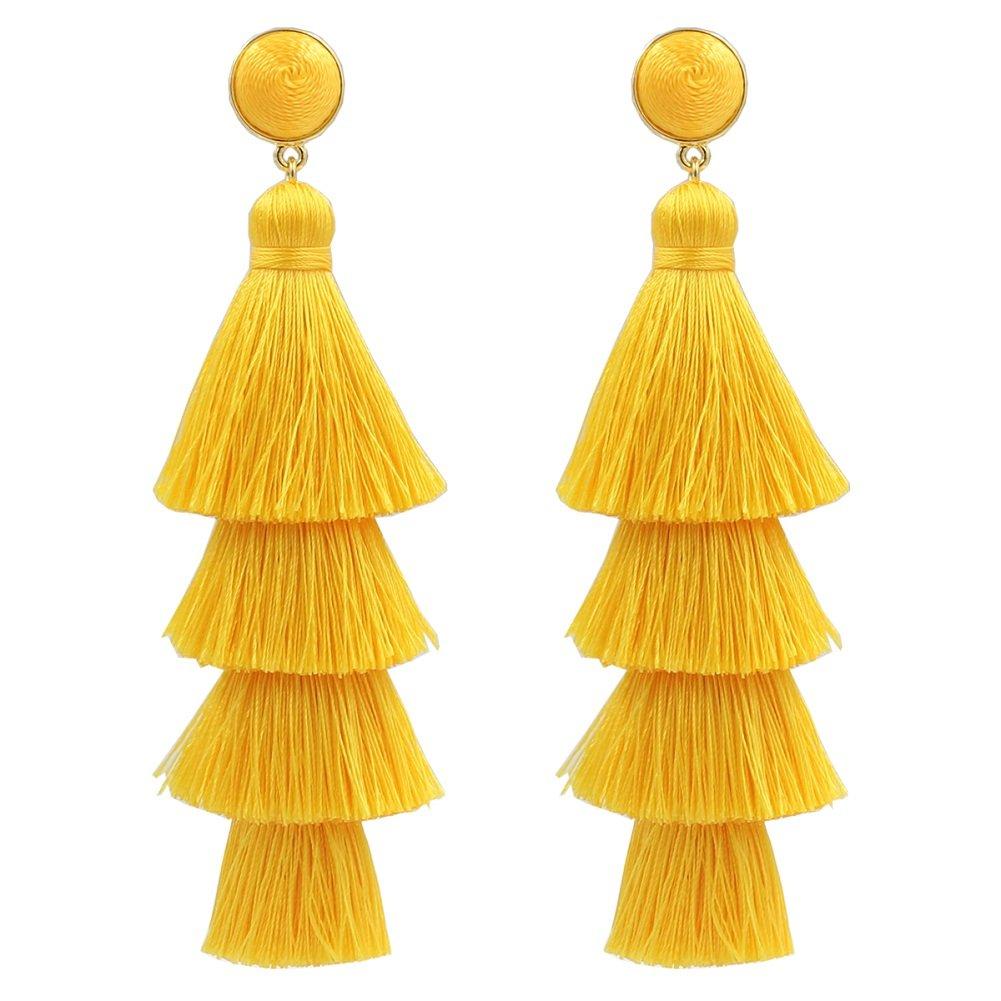 Tassel Earrings Fringe Drop Long Dangling Tiered Thread Earrings