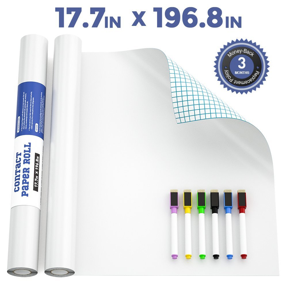 Nicpro Extra Large White Contact Paper 17.7'' X 196.8'',Self-Adhesive Dry Erase Paper Film Whiteboard Sticker Wall Decal with 6 Color Water-Based Pens for Home Office