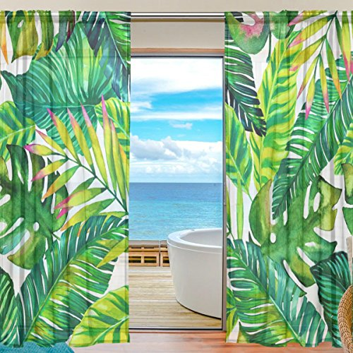 SEULIFE Window Sheer Curtain Tropical Hawaiian Palm Leaves Pattern Print Voile Curtain Drapes for Door Kitchen Living Room Bedroom 55x84 inches 2 Panels
