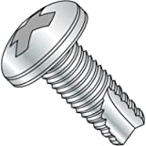 Steel Thread Cutting Screw, Zinc Plated Finish, Pan Head, Phillips Drive, Type 23, 10-32 Thread Size, 3/8' Length (Pack…