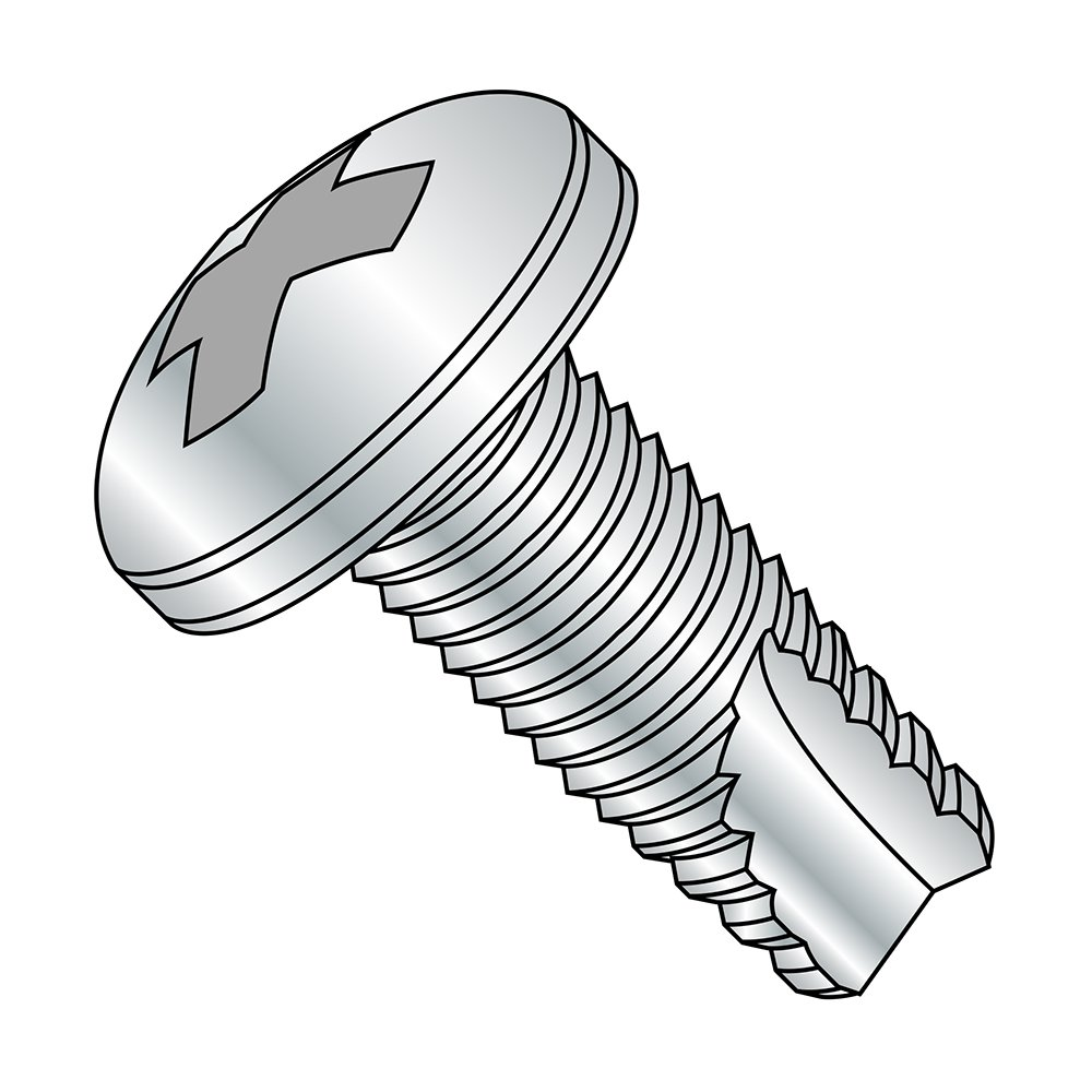 Steel Thread Cutting Screw, Zinc Plated Finish, Pan Head, Phillips Drive, Type 23, #12-24 Thread Size, 3/4 Length (Pack of 3000) by Small Parts B00GX1SB60