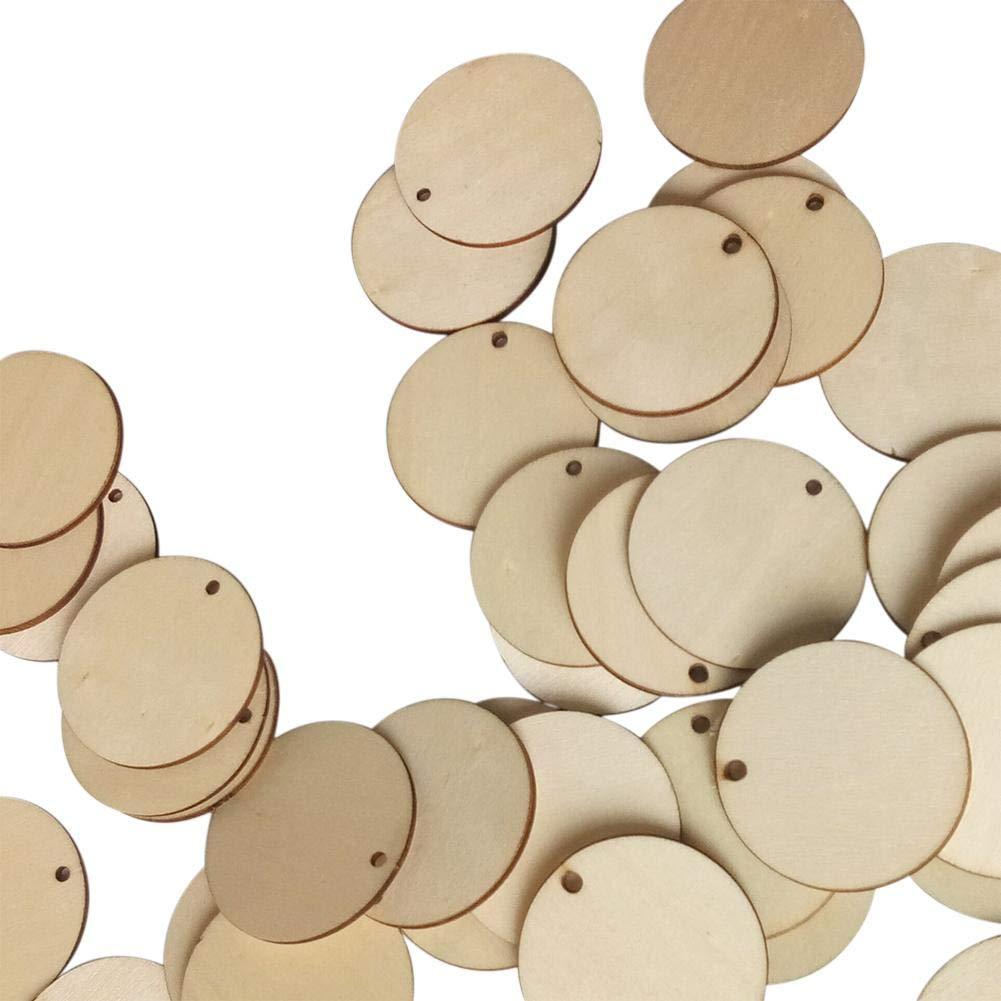 Ntribut 50 Unids Ronda De Madera Piezas De Madera C/írculos con Agujero Discos De Madera Rebanadas De Discos para El Arte De Bricolaje Arte Etiqueta De Regalo